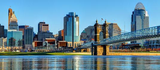 Skyline of Cincinnati, Ohio, home of Scion Cincinnati Creative Staffing