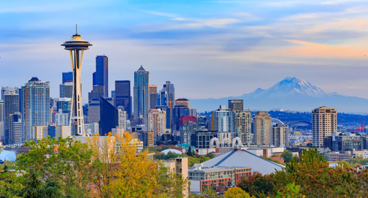 Skyline of Seattle, Washington, with Mt. Rainier in the background. This is the home of Scion Seattle Creative Staffing