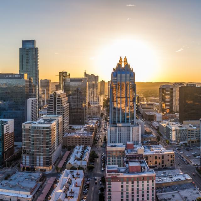 Panoramic view of Austin Skyline at sunrise