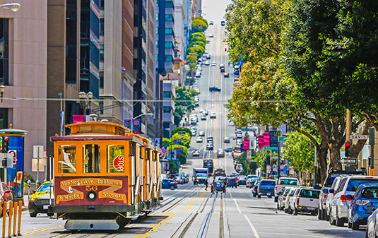 San Francisco trolley in the business district
