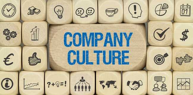 Organizational culture image of building black and text that says Company Culture
