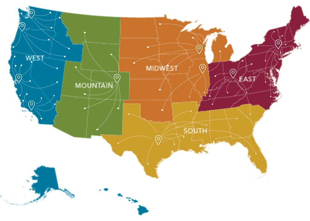 Our locations - map of US and how Scion can recruit for every state in the US